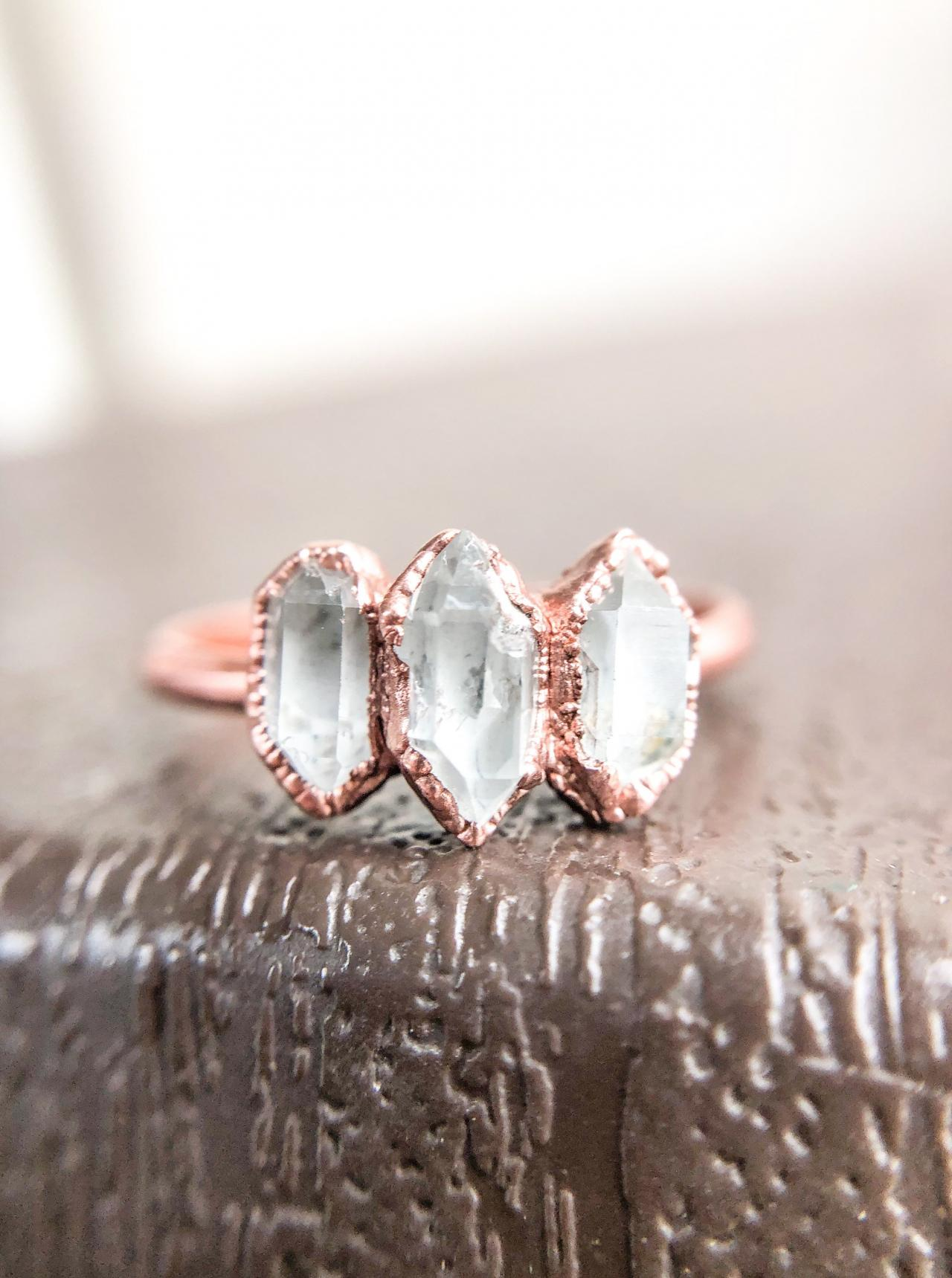 Herkimer Diamond Ring, Silver, Gold, Rose Gold Ring