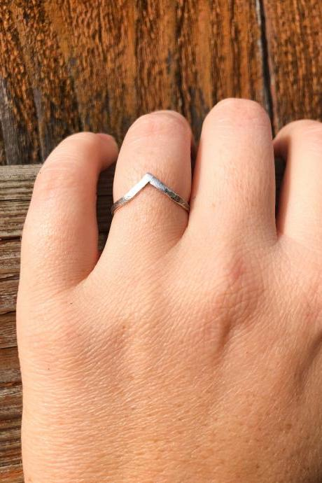 Solid Sterling Silver Hammered Mountain Peak Stacker Ring, Cheveron Stacker, 925 Silver