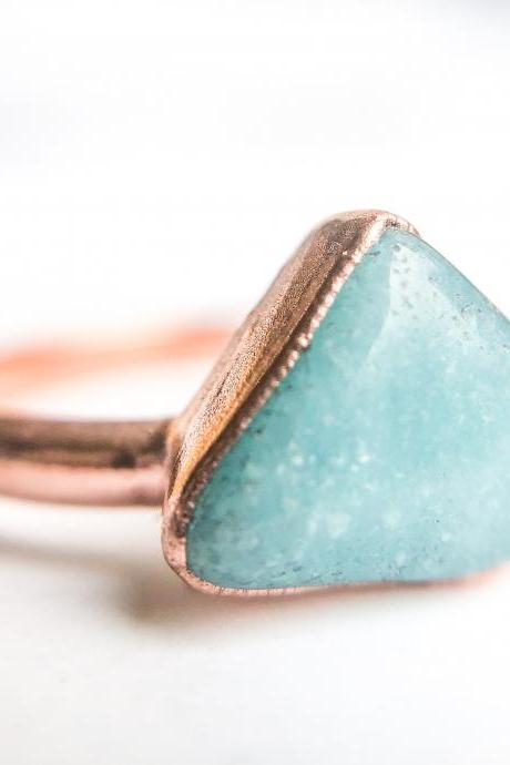 Raw Amazonite Ring, Silver, Gold, Rose Gold, or Copper Rings