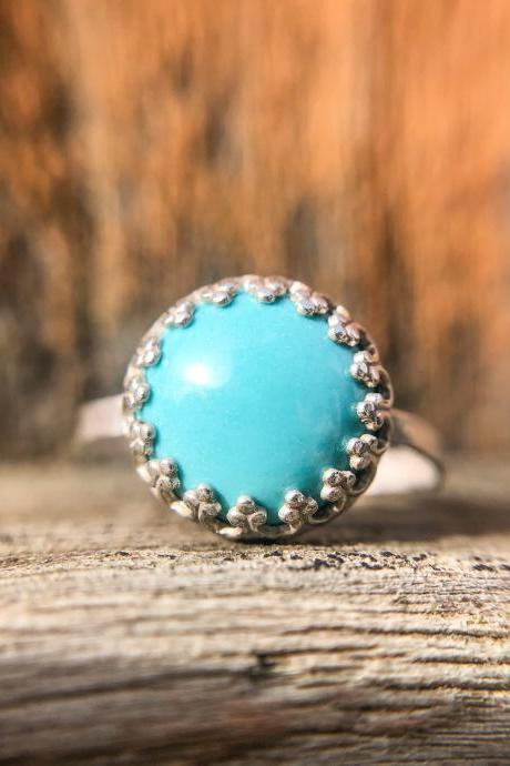 Solid Sterling Silver with Sleeping Beauty Turquoise Ring, Size 7.5, Solid 925 Silver