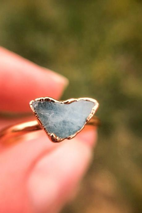 Petite Raw Aquamarine Ring, Silver, Gold, Rose Gold Rings, March Birthstone Jewelry