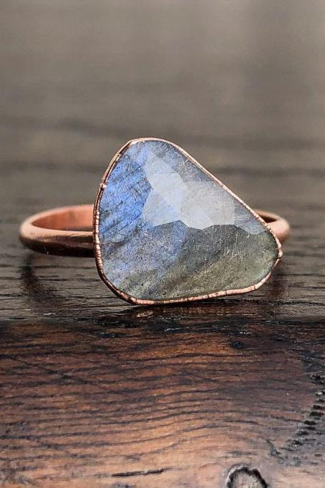 Faceted Labradorite Ring Size 8, Flashing Labradorite Jewelry, Silver, Gold, Rose Gold Ring