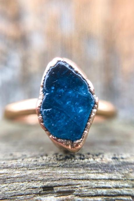 Raw Natural Neon Blue Apatite Ring, Double or Single Band, Raw Gemstone Ring.