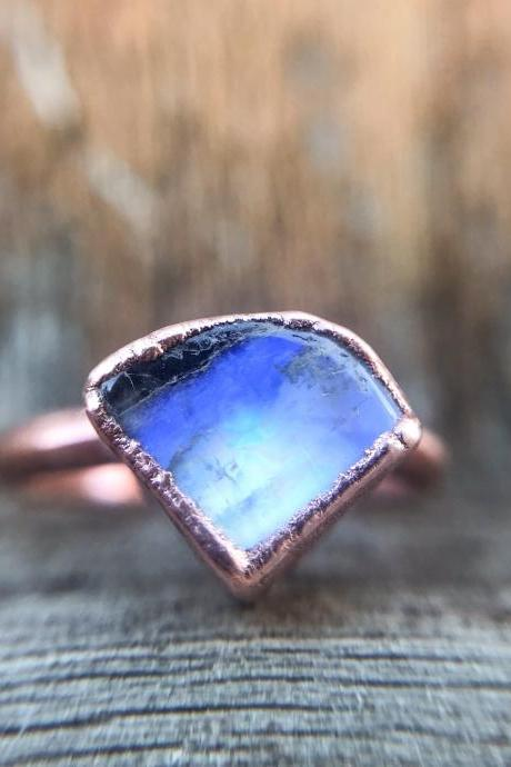 Raw Rainbow Moonstone Custom Ring, Silver, Gold, Rose Gold Rings